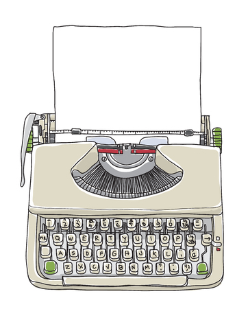 cream typewriter  vintage with paper hand drawn cute vector line art illustration Çizim