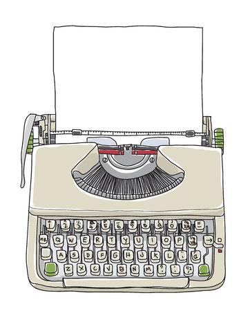 Machine à écrire crème vintage avec papier dessinés à la main mignon vecteur ligne art illustration Banque d'images - 86278558