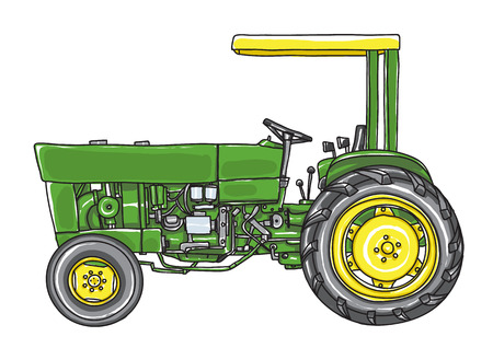 Green vintage Tractor  Vintage hand drawn cute vector  art illustration. Иллюстрация