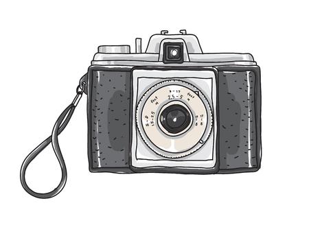 Hand drawn vintage camera vector art illustration