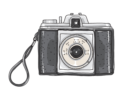 Hand drawn vintage camera vector art illustration