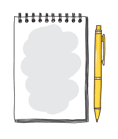notebook paper and yellow pen Vector art  illustration