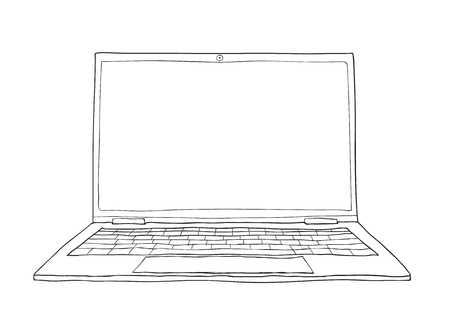 multimedia icons: A cute laptop hand drawn vector line art illustration.