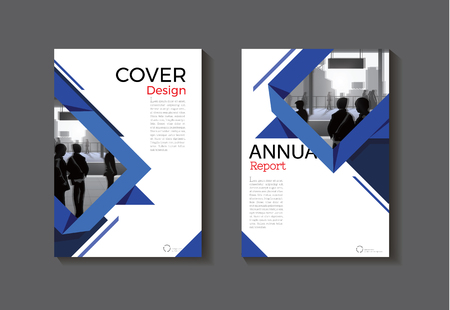 blank magazine: Dark blue abstract cover modern book for brochure template design.