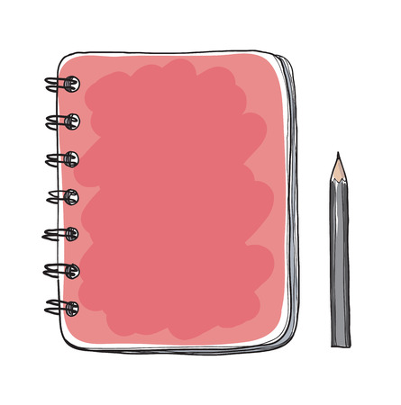 Red notebook and pencil hand drawn cut vector art illustration Çizim