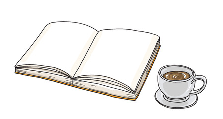 notebook and coffee cup line art hand drawn vector art illustration Illustration