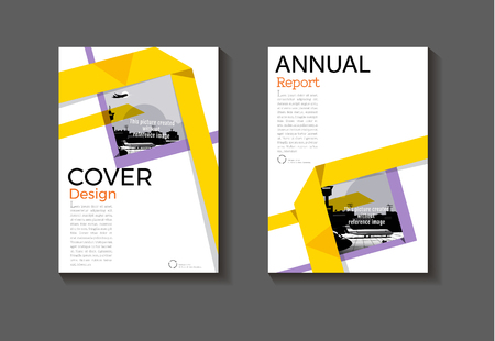 Purple and yellow cover abstract design cover background. Modern book brochure cover template, annual report, magazine and flyer layout. Illustration