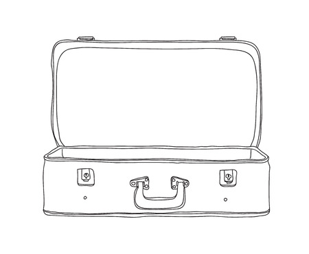 Suitcase Vintage Storage Luggage Empty and open hand drawn vector line art illustration
