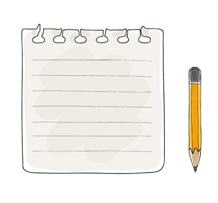 carta per appunti e matita gialla disegnata a mano illustrazione arte vettoriale Vettoriali