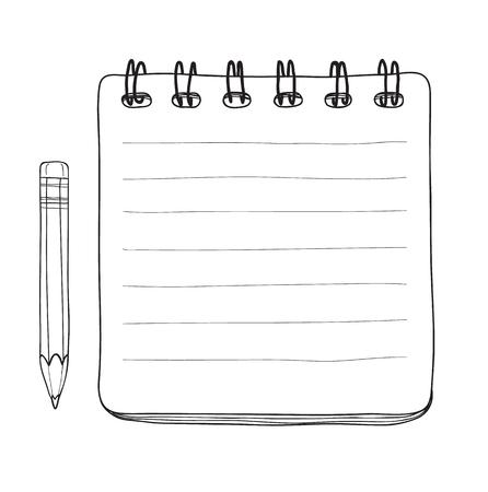notebook e matita mano disegnata linea vettoriale illustrazione arte