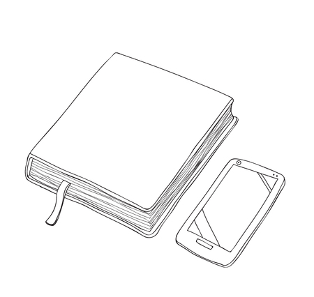 Notebook and Smartphone hand drawn vector line art illustration.