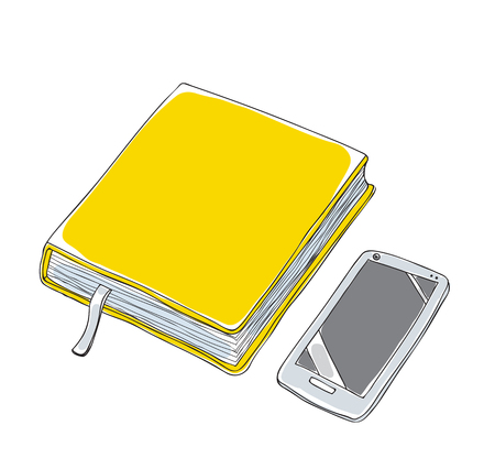 Yellow notebook and Smartphone hand drawn vector art illustration. Illustration