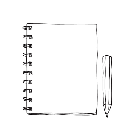 notebook and cute pencil hand drawn vector line art illustration