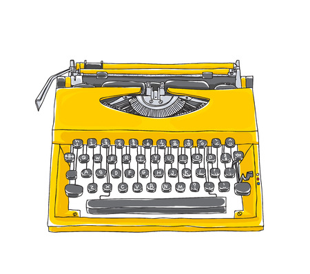 yellowTypewriter old hand drawn cute art illustration