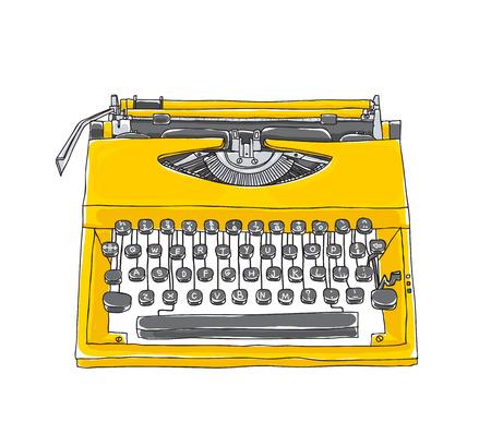 yellowTypewriter alte Hand gezeichnete nette Kunstillustration