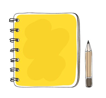 Cute mini notebook and pencil hand drawn art illustration