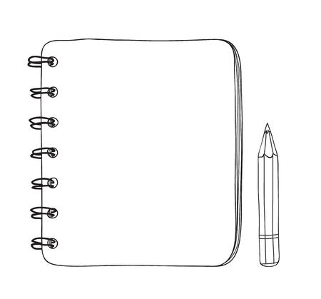 Cute mini notebook and pencil hand drawn line art illustration 일러스트