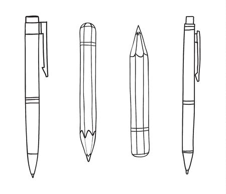 Pen and pencil hand drawn cute line art illustration  イラスト・ベクター素材