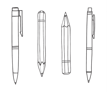 Pen and pencil hand drawn cute line art illustration 向量圖像