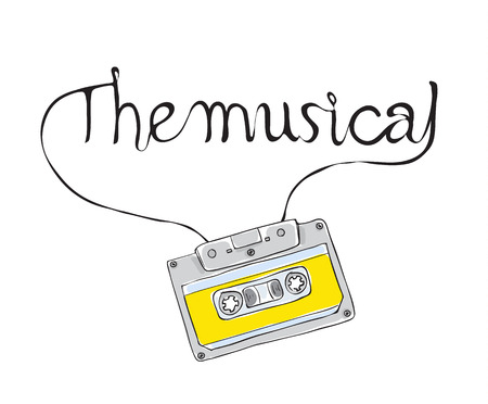 the musical, Compact Cassette, Musicassette  hand drawn vector ,analog magnetic tape  illustration Ilustração