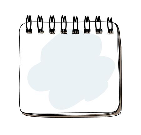 Template  spiral notebook  hand drawn art vector illustration