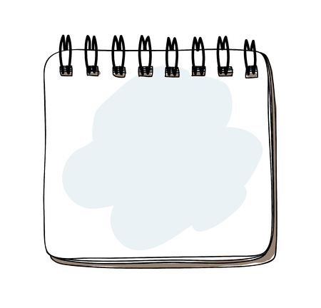 Template spiral notebook hand drawn art vector illustration