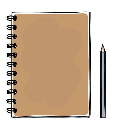 brown notebook hand drawn and pencil vector art illustration