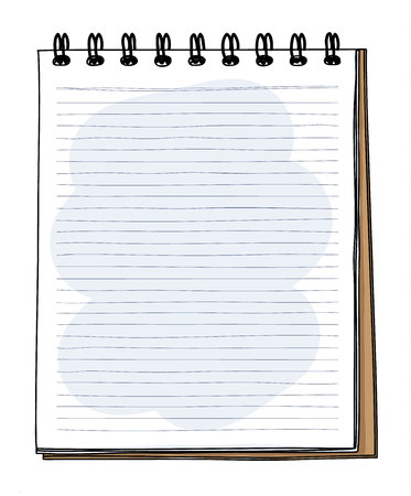 brown Notebook with grid hand drawn and pencil vector art illustration