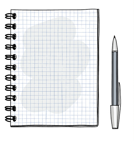 grid Notebook hand drawn and pen vector art illustration