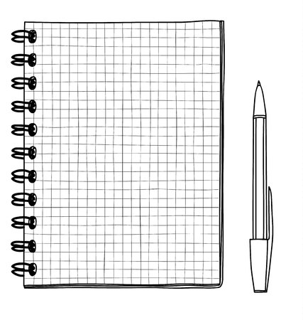 grid Notebook hand drawn and pen vector line art illustration