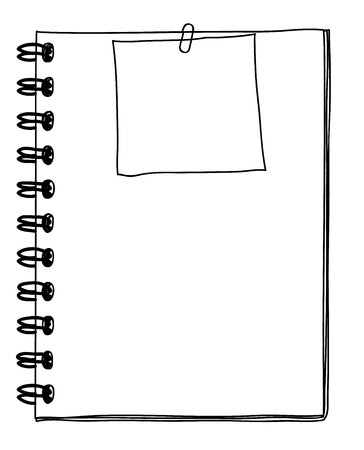 notebook and note paper  hand drawn and vector line art illustration