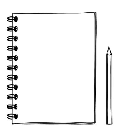 notebook hand drawn and pencil vector line art illustration