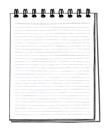 Notebook with grid hand drawn and pencil vector line art illustration