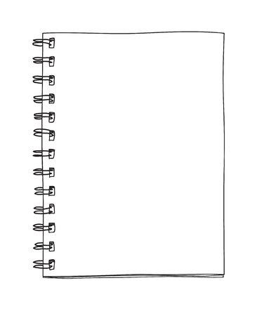 Blank notebook handdrawn cute line art vector illustrator
