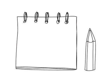 cute note book and pencil handdrawn line art vector illustration