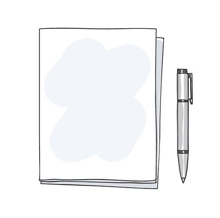 notebook and pen handdrawn cute art vector illustration