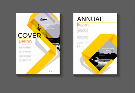 yellow modern book cover layout  abstract background modern cover design  Brochure cover  template,annual report, magazine and flyer Vector a4