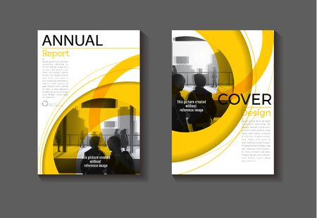 abstract Circle yellow background modern cover design, book ,Brochure  template,annual report, magazine and flyer layout Vector a4
