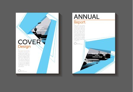 layout blue abstract background design modern book cover Brochure  template,annual report, magazine and flyer Vector a4  イラスト・ベクター素材