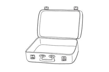 Suitcase Vintage hand drawn line art vector painting  illustration  イラスト・ベクター素材