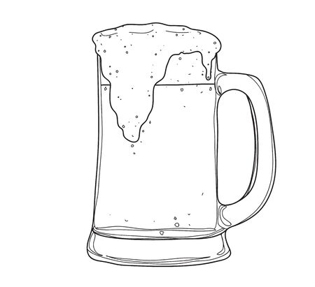 glasses and mugs beer hand drawn style line art Vector illustration
