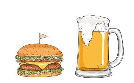 hamburger and beer. glasses  hand drawn style art Vector illustration