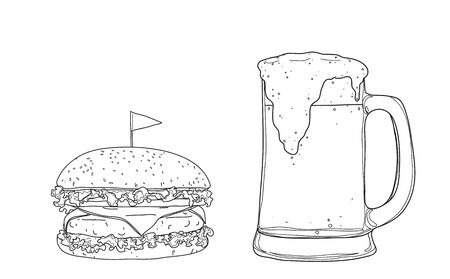 hamburger and beer. glasses mugs  hand drawn style line art Vector illustration