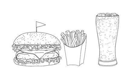 hamburger food set. glasses  hand drawn style line art Vector illustration  イラスト・ベクター素材