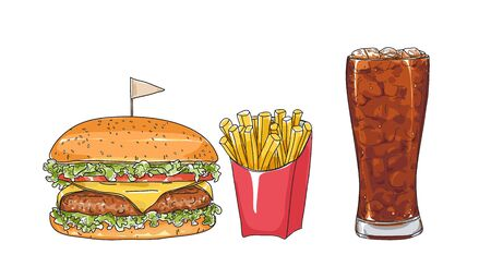 hamburger set. glasses  hand drawn style art Vector illustration