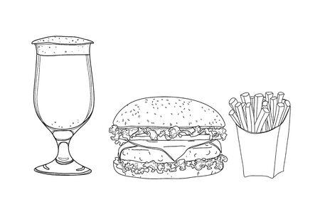 hamburger food set. and beer glasses  hand drawn style line art Vector illustration  イラスト・ベクター素材