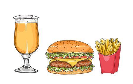 hamburger set. and beer glasses  hand drawn style art Vector illustration