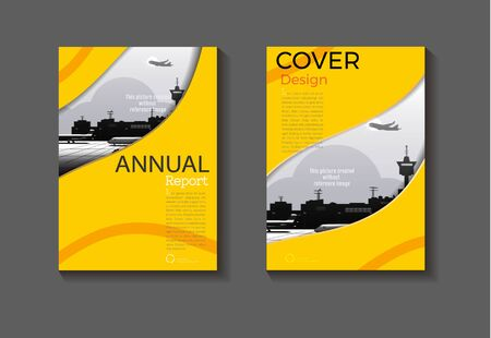 yellow background modern cover design abstract book cover Brochure cover  template,annual report, magazine and flyer layout Vector a4