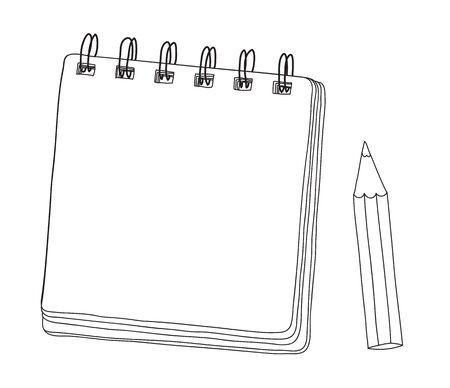 mini notebook and  pencil hand drawn cut line art vector illustration