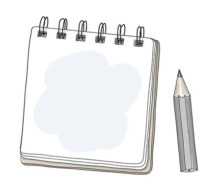 mini notebook and back pencil hand drawn cut art vector illustration 일러스트